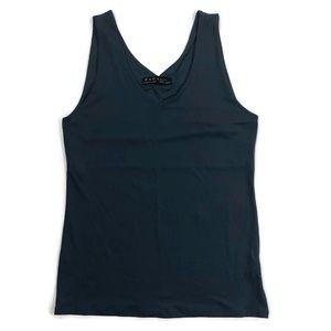Zara Basics Navy Blue V-Neck Tank Top, Size XL